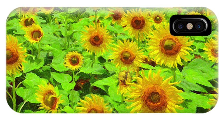 Safran Fine Art IPhone X Case featuring the painting Sunflowers by Safran Fine Art