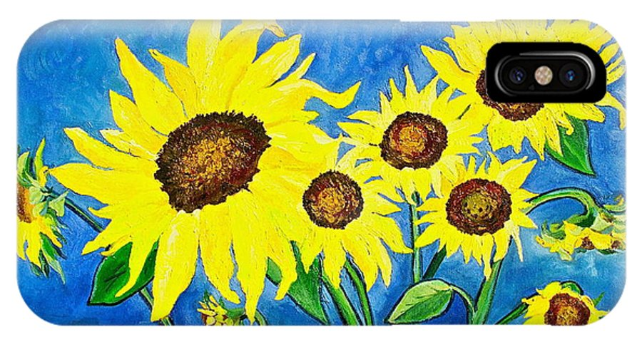 Sunflower IPhone X Case featuring the painting Sunflowers by Virginia Ann Hemingson