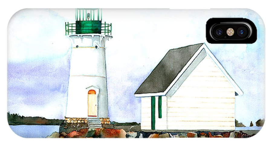 Lighthouse IPhone X Case featuring the painting Sunken Rock Lighthouse Ny by Carla Palmer