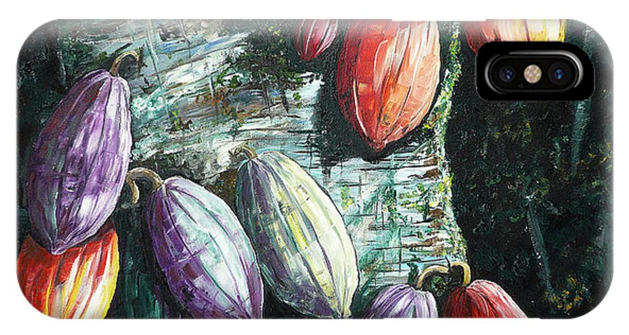 Caribbean Paintings Cocoa Fruit Paintings Tree Paintings Cocoa Paintings Chocolate Tree Paintings  Fruit Pods Paintings  Tropical Paintings Greeting Card Paintings Canvas Prints Paintings Poster Print Paintings  IPhone X Case featuring the painting Sunlight And Chocolate by Karin Dawn Kelshall- Best