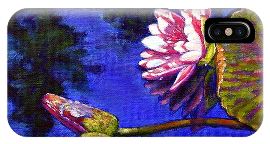 Water Lily IPhone X Case featuring the painting Sunlight On Pink by John Lautermilch