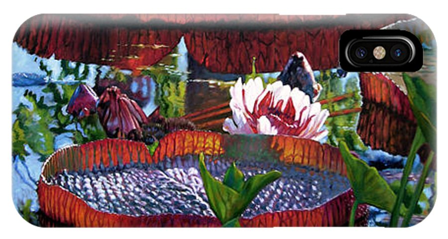 Garden Pond IPhone X / XS Case featuring the painting Sunlight Shining Through by John Lautermilch