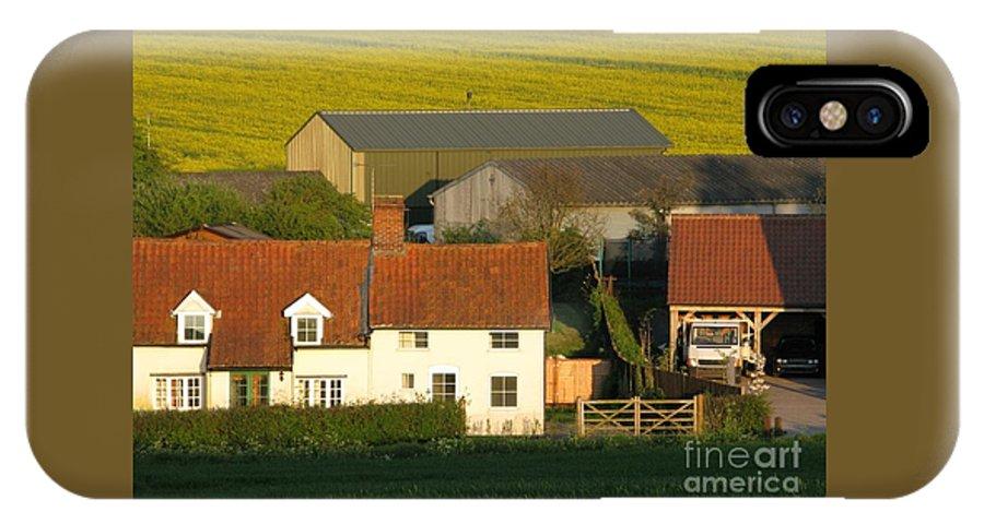 Farm IPhone X Case featuring the photograph Sunlit Farm by Ann Horn