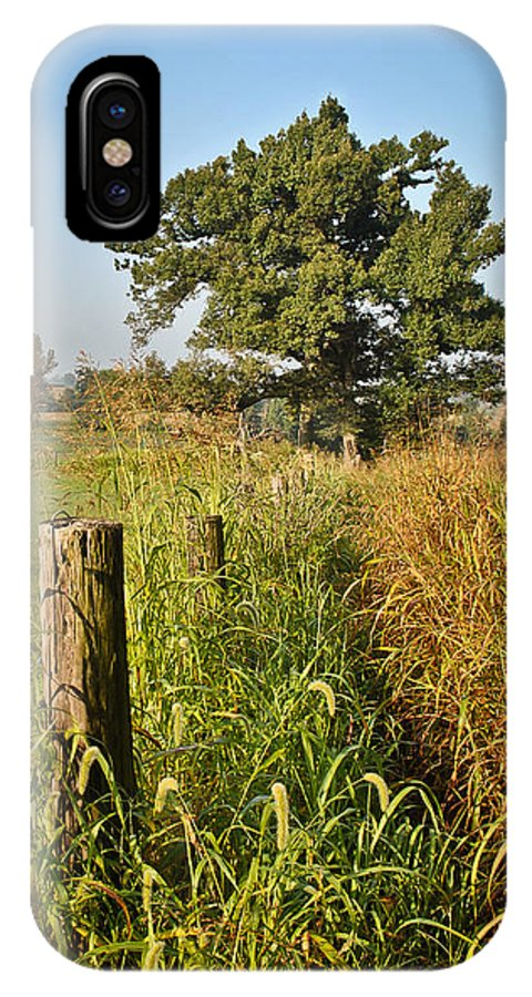 Sunlit Fence Post In Weeds IPhone X Case featuring the photograph Sunlit Fence Posts In Weeds by Greg Jackson