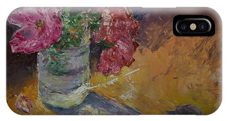 Oil IPhone Case featuring the painting Sunlit Roses by Horacio Prada