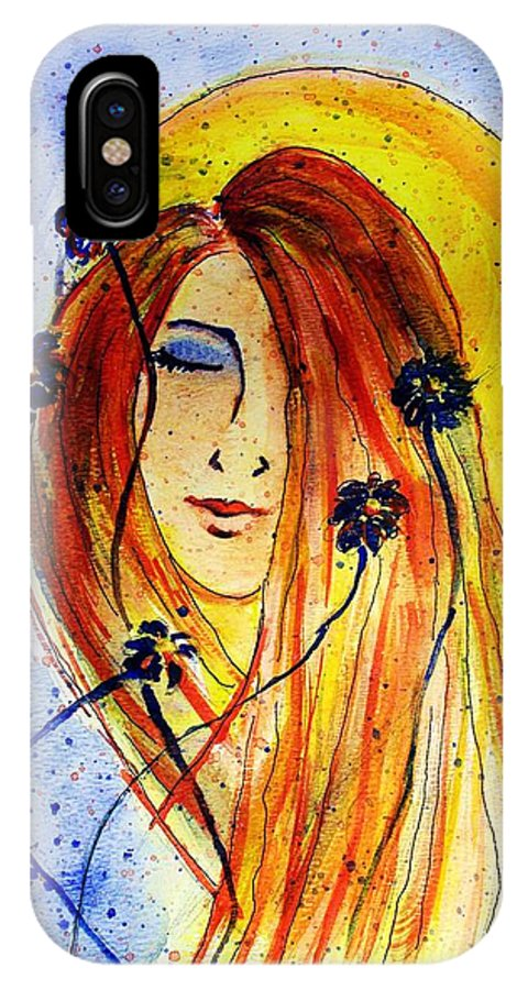 Face IPhone X Case featuring the painting Sunny Disposition by Robin Monroe