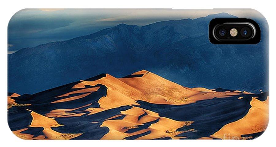 Sunrise At Great Sand Dunes IPhone X Case featuring the photograph Sunrise At Great Sand Dunes by Priscilla Burgers