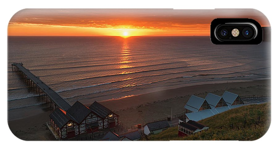 Sunrise IPhone X / XS Case featuring the photograph Sunrise At Saltburn by Gary Eason