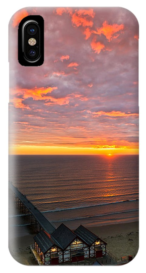 Sunrise IPhone X / XS Case featuring the photograph Sunrise At Saltburn Pier And Seafront Portrait by Gary Eason