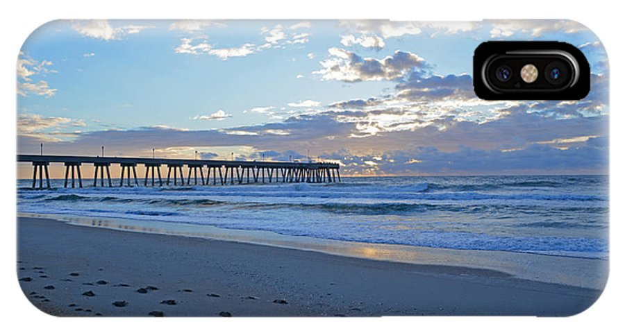 Sunrise IPhone X Case featuring the photograph Sunrise By The Pier by Amber Ruth