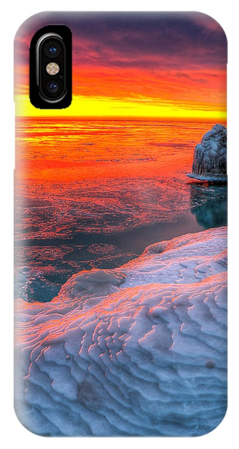 Chicago Sunrise Photography IPhone X Case featuring the photograph Sunrise Chicago Lake Michigan 1-30-14 by Michael Bennett