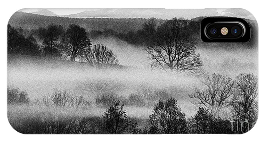 Sunrise IPhone X Case featuring the photograph Sunrise Fog Black And White by Thomas R Fletcher