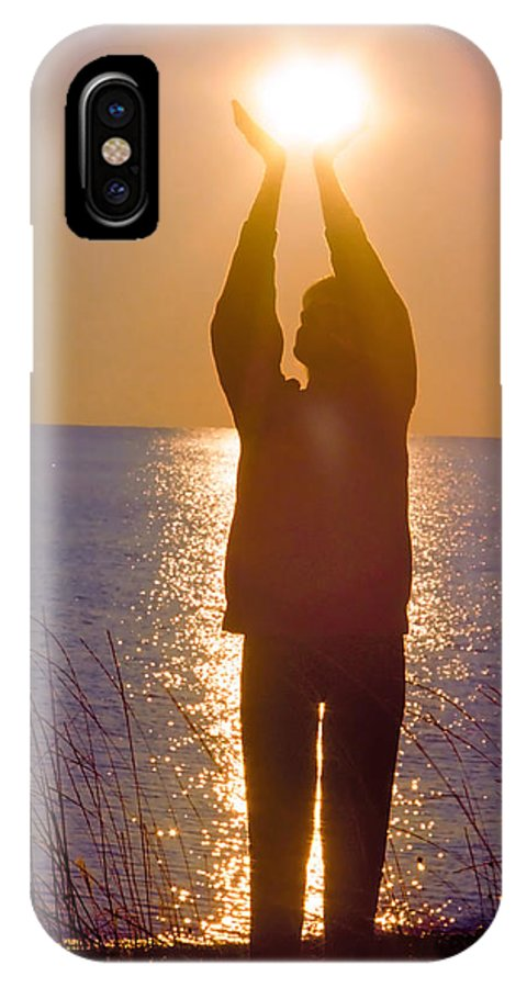Sunrise IPhone X Case featuring the mixed media Sunrise - Healing Light by Alex Khomoutov