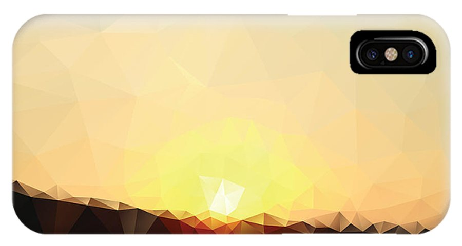 Sunshine IPhone X Case featuring the digital art Sunrise Low Poly Effect Abstract Vector by Vinko93