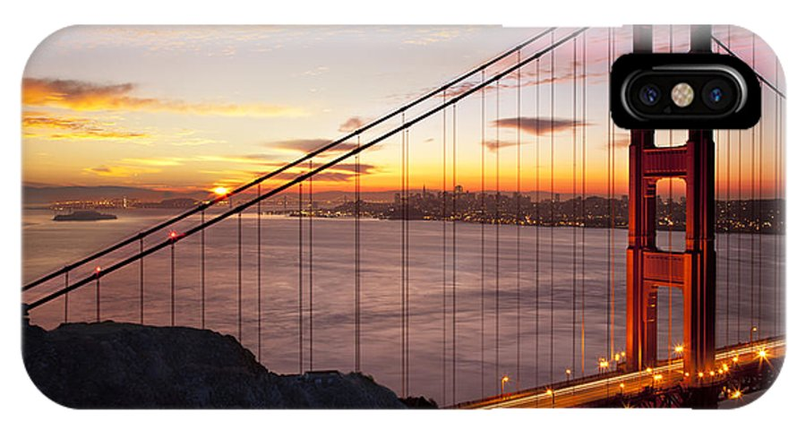 Sunrise IPhone X Case featuring the photograph Sunrise Over The Golden Gate Bridge by Brian Jannsen