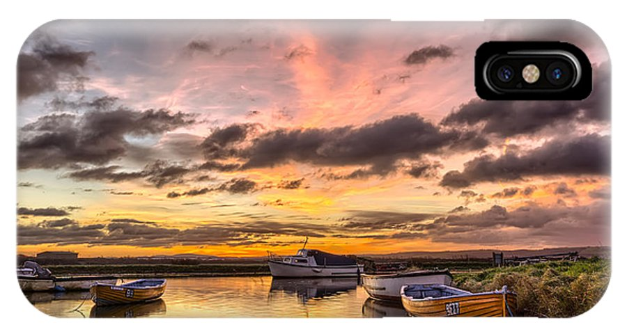 Sunrise IPhone X Case featuring the photograph Sunrise Over The Old Salmon Boats by Dave Wilkinson