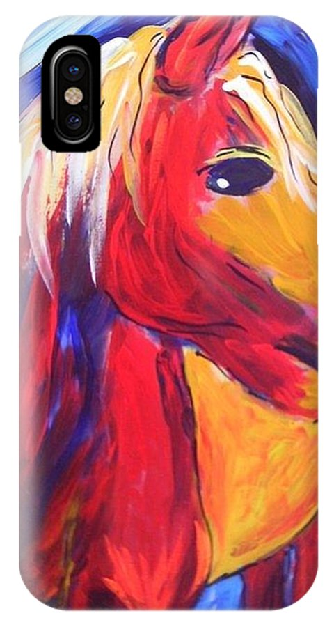 Horse IPhone X Case featuring the painting Sunrise Pony by Mary DeSilva