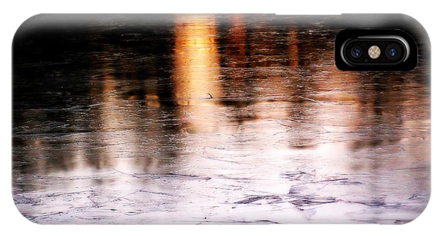 Sunrise IPhone X Case featuring the photograph Sunrise Reflected On Icy Pond by Gregory Strong