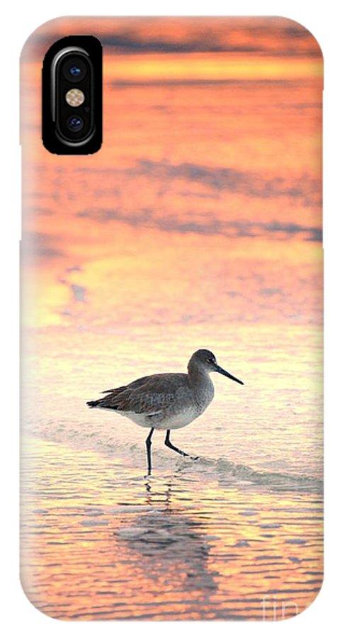 Sunrise IPhone X Case featuring the photograph Sunrise Shorebird by Henry Kowalski