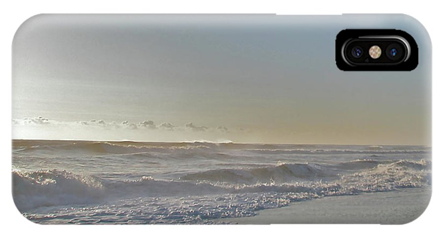 Sunrise IPhone X Case featuring the photograph Sunrise Surf - Island Beach State Park Nj by Mother Nature