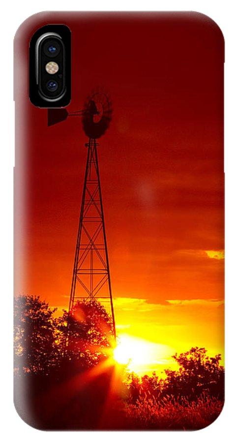 Windmill IPhone X Case featuring the photograph Sunrise Windmill 1 A by John Brueske