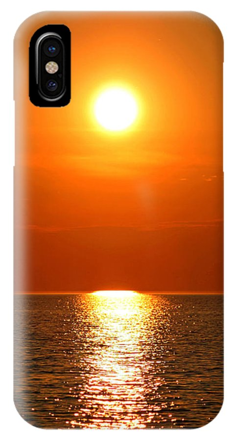 Manistee IPhone X Case featuring the photograph Sunset 1 by Allan Lovell