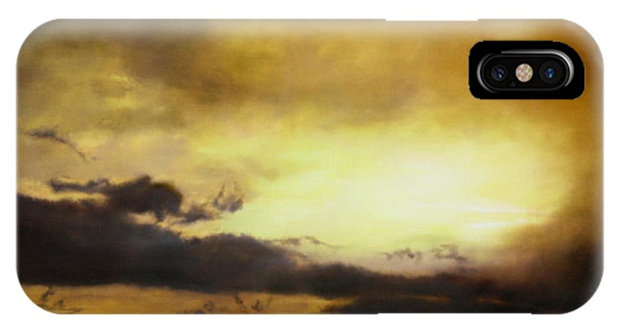 Sunset IPhone X Case featuring the painting Pouzol Sunset 92 X 122cm by Thomas Darnell