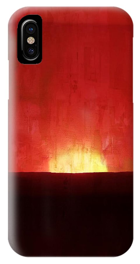 Sunset IPhone X Case featuring the painting Sunset by Anne Costello