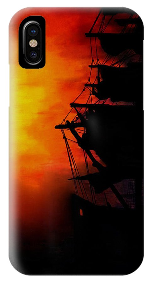 Sunset IPhone X Case featuring the painting Sunset As A Misty Fog Arrives by Joe Lisowski