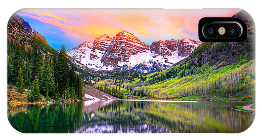 Sunset At Maroon Bells And Maroon Lake Aspen Co Iphone X Case