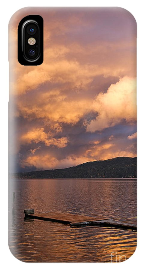 Sunset IPhone X Case featuring the photograph Sunset At The Dock by Louise Heusinkveld