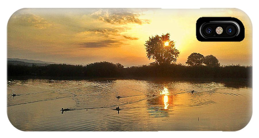Lake IPhone X Case featuring the photograph Sunset At The Lake by Rumiana Nikolova