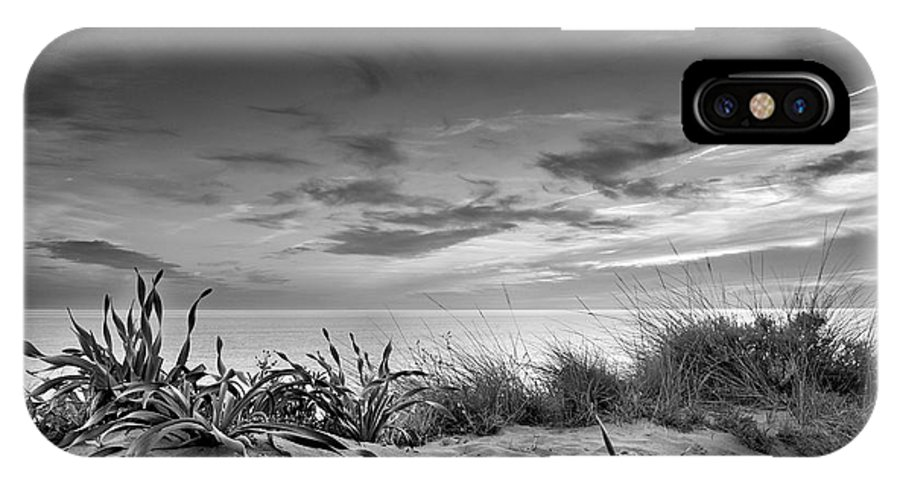 Black And White IPhone X Case featuring the photograph Sunset At The Mediterranean Sea by Guido Montanes Castillo