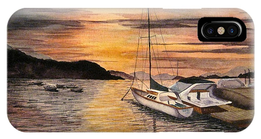 Sunset IPhone X Case featuring the painting Sunset Bay by Julia RIETZ
