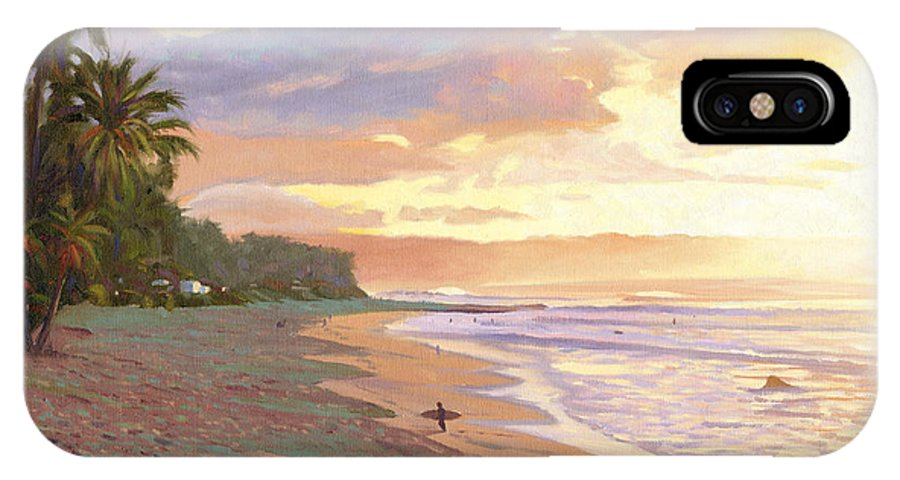 Sunset Beach IPhone Case featuring the painting Sunset Beach - Oahu by Steve Simon