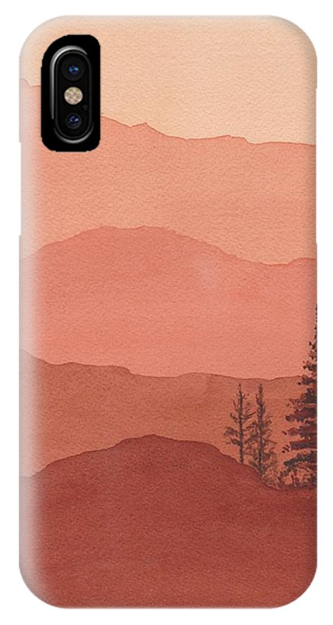 Mountains And Tree IPhone X Case featuring the painting Sunset by Diann Parks