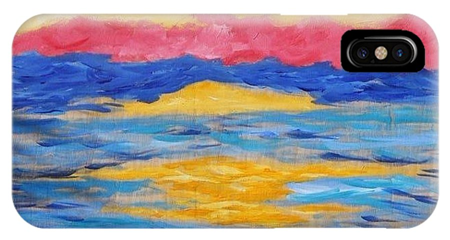 Painting IPhone X Case featuring the painting Sunset by Felicia Roberts