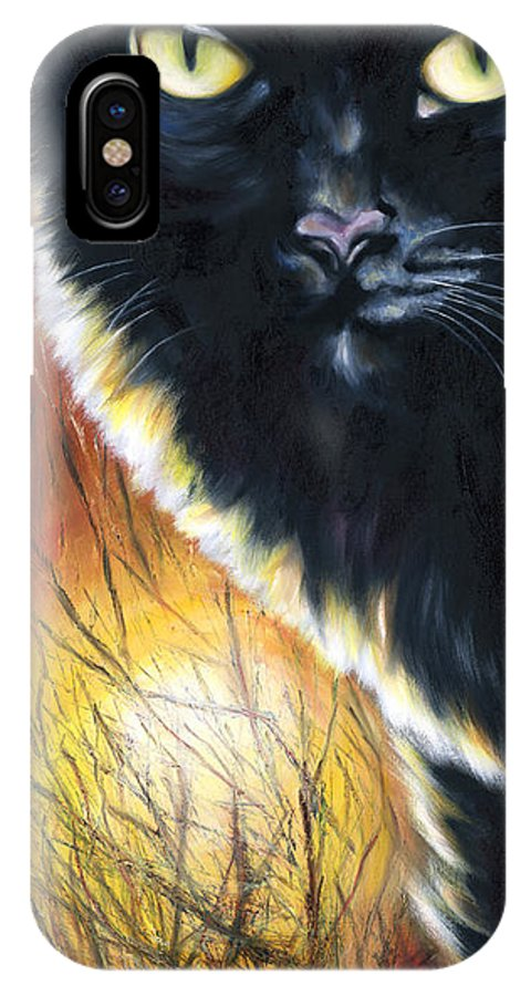 Cat IPhone X Case featuring the painting Sunset by Hiroko Sakai