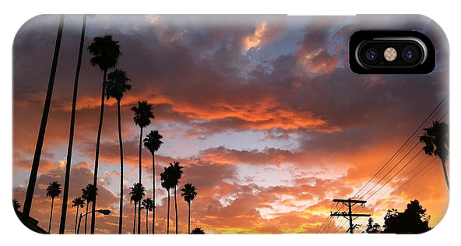 Sunset IPhone X Case featuring the photograph Sunset In Hollywood by David Wallace Crotty