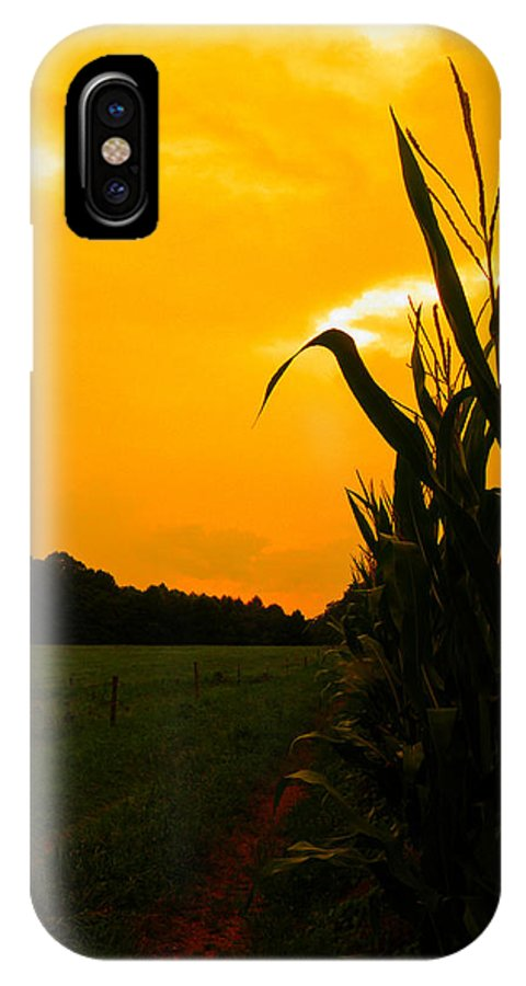 Corn IPhone X Case featuring the photograph Sunset In The Cornfield by Nick Kirby