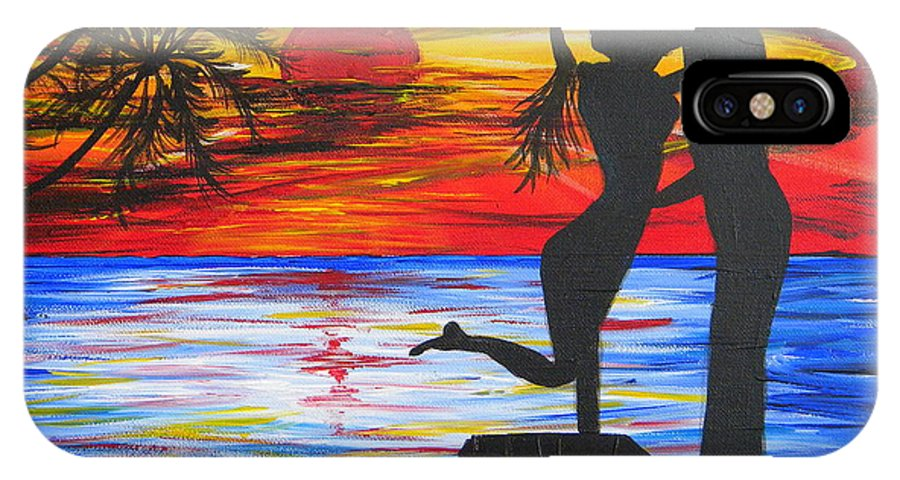 Sunset IPhone X Case featuring the painting Sunset Kiss by Eric Johansen
