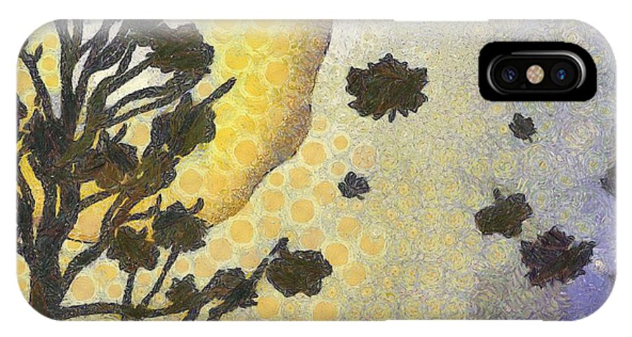 Autumn IPhone X Case featuring the painting Sunset by Kvetoslava Stikovcova