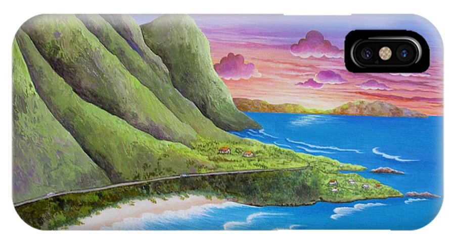 Sunset IPhone X Case featuring the painting Sunset Oahu Hawaii by Carol Sabo