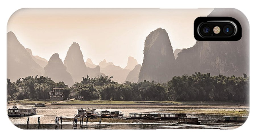China IPhone X Case featuring the photograph Sunset On Li River by Delphimages Photo Creations