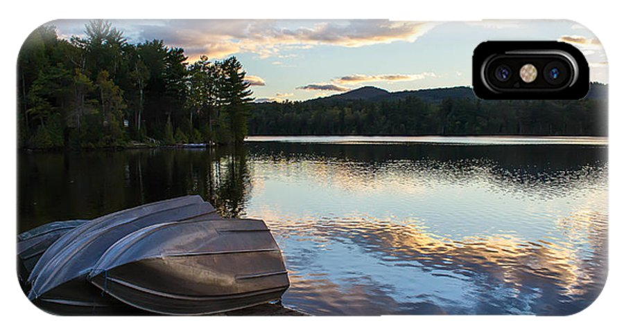 Boats IPhone X Case featuring the photograph Sunset On Long Pond by Katherine Hawkins