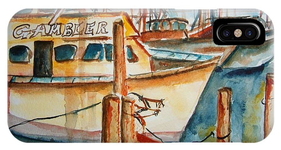 Boat IPhone X Case featuring the painting Sunset On The Gambler by Elaine Duras