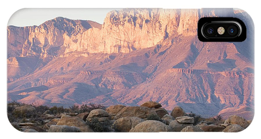 Color Image IPhone X Case featuring the photograph Sunset On The Guadalupe Mountains by Tom Bol