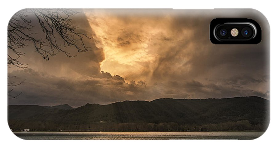 Nature IPhone X / XS Case featuring the photograph Sunset On The Lake by Monica Quintana
