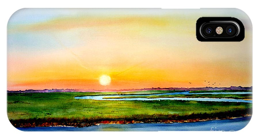Sunset IPhone X Case featuring the painting Sunset On The Marsh by Phyllis London
