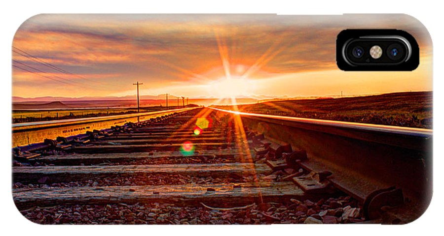 Red IPhone X Case featuring the photograph Sunset On The Rails by John Lee